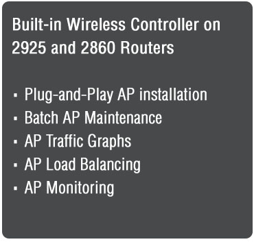 Built-In Wireless Controller on 2925 and 2860 Routers<br />