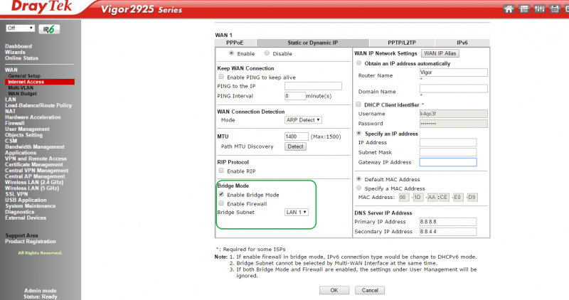How to enable Bridge Mode on the DrayTek 2925 router | ABP TECH